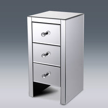 Mirrored 3 Drawers Nightstand Bedside Table Mirrored Bedside Cabinet