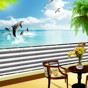"3'x15'   Gray &White Stripes High-density Polyethylene Balcony Cover with 472"" Rope"