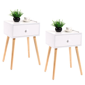 Set of 2 Coffee Tea End Table Storage Drawer Wood Furniture White