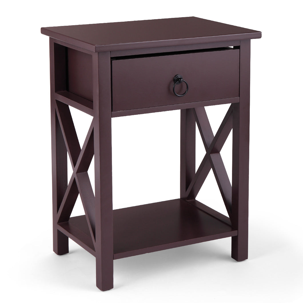 Bedside End Table Bedroom Storage Cabinet with Drawer Coffee Table Simple Side Cross Style Home Furniture
