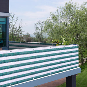 3'x16.4' Balcony Privacy Screen Fence Wind Shield Patio Deck Balcony Porch Green & White Stripes
