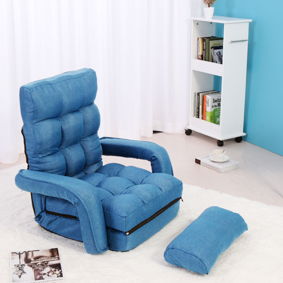 Adjustable 5 Position Folding Floor Chair Lazy Sofa Cushion Gaming Cha Sandinrayli
