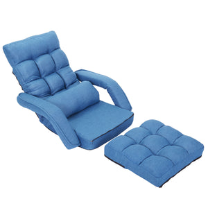 Adjustable 5-Position Folding Floor Chair Lazy Sofa Cushion Gaming Chair Blue