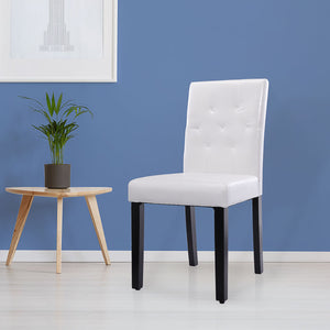 Set of 2/4 PU leather Upholstered Dining Chairs w/ wooden legs Kitchen Chairs Leisure Armless Chair