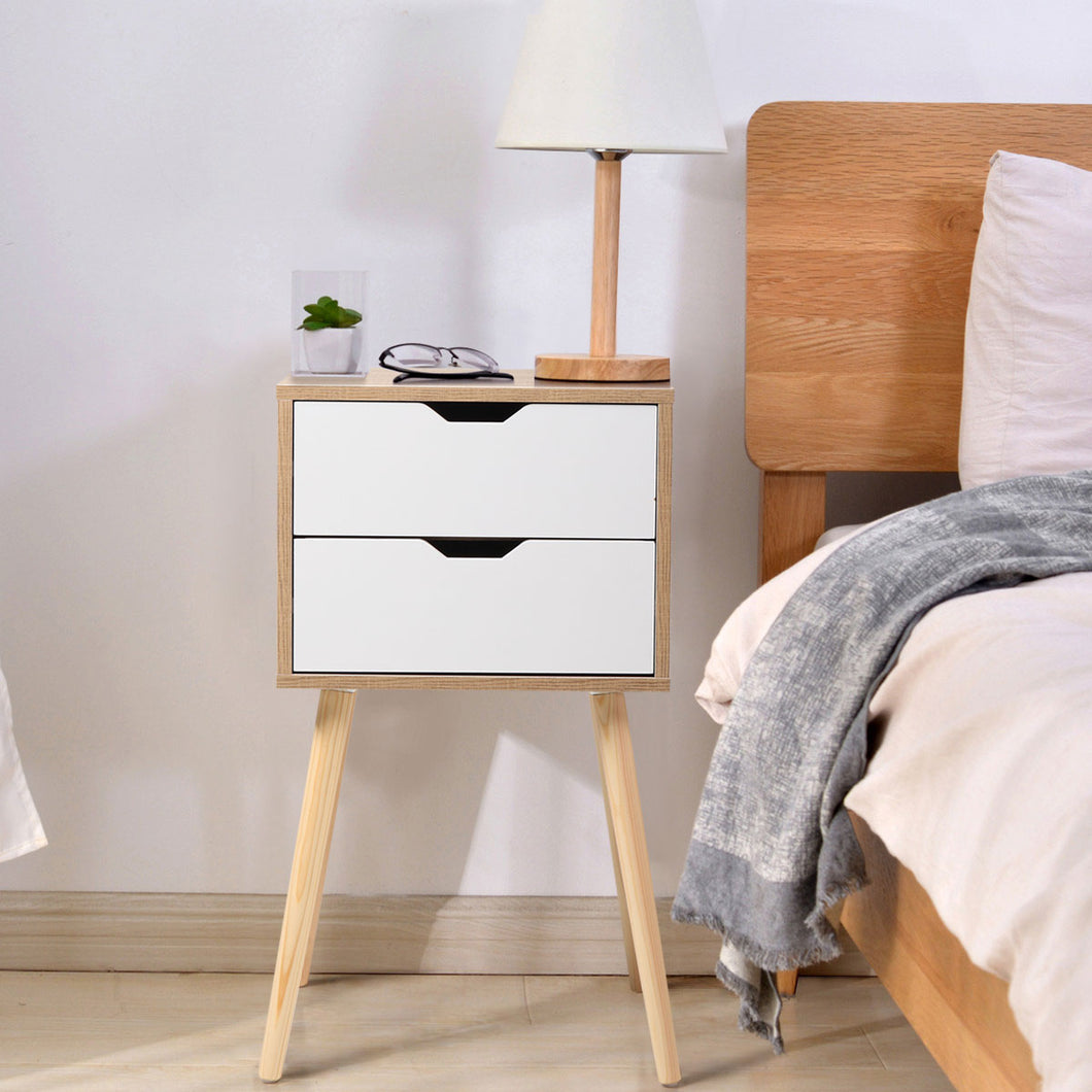 Wood Bedroom Bedside Furniture Nightstand Set of 2