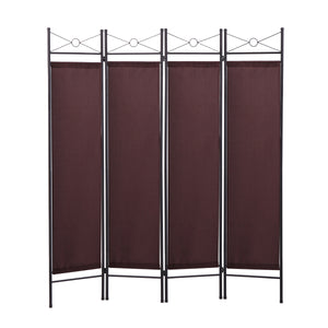 4 Panel Room Divider Privacy Folding Screen Durable Movable Partition Brown