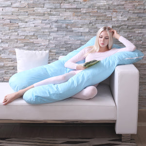 U Shape Total Body Pillow Pregnancy /Maternity Pillow Comfort Cushion Sleep Blue
