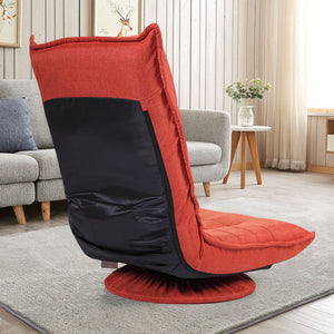 Swivel Video Rocker Gaming Chair Adjustable Angle Chair Folded Floor Chair Red