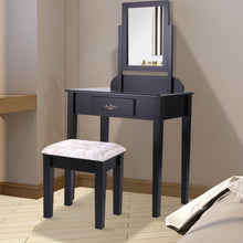 Black Finish Contemporary Bedroom Vanity Table Dressing Mirror Table Set w/Stool