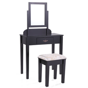 Black Finish Contemporary Bedroom Vanity Table