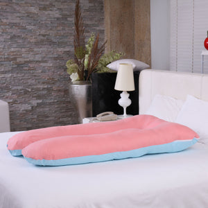 U Shape Total Body Pillow Pregnancy Maternity Support Cushion Sleep Blue-Pink