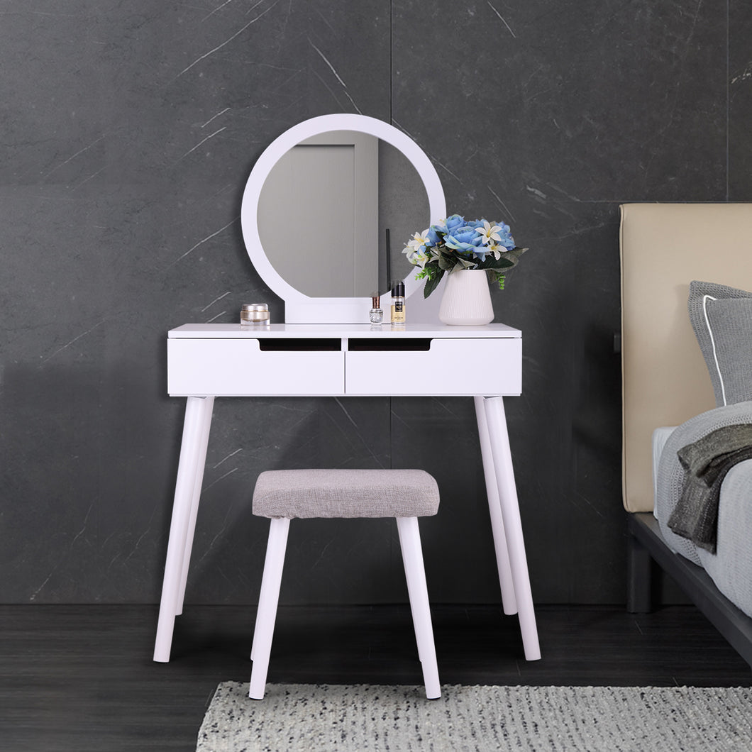 Dressing Table Makeup Vanity with Round Mirror