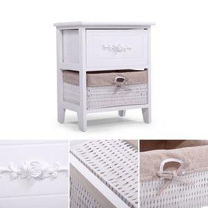Wood Nightstand End Tables Side Tables Fully Assembled with Wicker Basket for Bedroom Set of 2