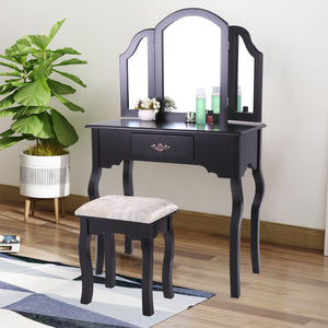 Black Folding Wood Makeup Dressing Table Stool Set Vanity Table with Drawers