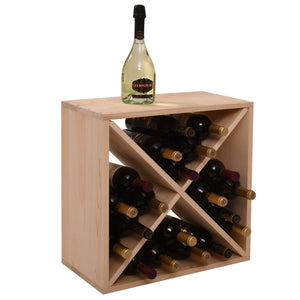 24 Bottles Holder Wine Rack Solid Wood Stackable Storage Cube Tabletop Champagne