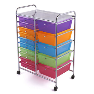 Rolling Storage Cart w/ 15 Drawers Metal Rack Shelf Home Office School Salon Utility Organizer Cart