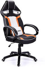 High Back Racing Style PU Leather Computer Gaming Office Chair Ergonomic Reclining Design with Lumbar Cushion Footrest and Headrest Orange