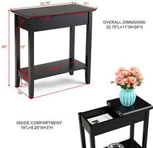Home Hallway Flip Top End Table Accent Side Table with Storage Hinged Tabletop Wood Slim Sofa Couch Side ConsoleBlack