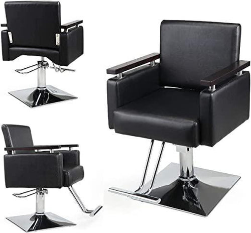 Hydraulic Barber Chair 360 Degrees Rolling Swivel Wide Styling Salon Chair All Purpose Beauty Equipment with Foot Rest and Square Base Black