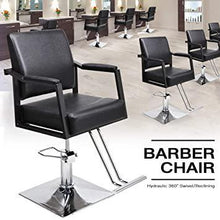 Hydraulic Barber Styling Chair Heavy Duty Hair Cutting Chairs Shampoo Spa Beauty Salon Barber Swivel Equipment Black