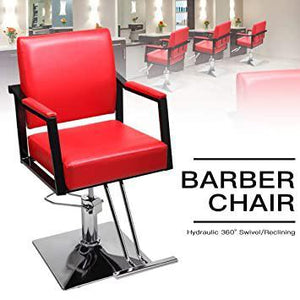 Hydraulic Barber Styling Chair Heavy Duty Hair Cutting Chairs Shampoo Spa Beauty Salon Barber Swivel Equipment Red