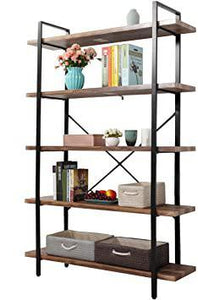 Industrial 5-Tier Open Storage Bookshelf Bookcase Organizer Furniture with Metal Frame for Home Living Room Office Bedroom Stable Rustic Brown