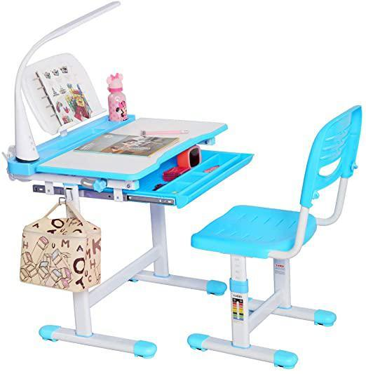 Kids Desk and Chair Set Height Adjustable Ergonomic Student Workstation with Large Storage Drawer LED Lamp & Book Stand Blue and White Boy-Style