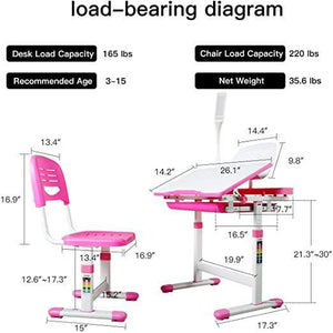 Kids Desk and Chair Set Height Adjustable Ergonomic Student Workstation with Large Storage Drawer LED Lamp & Book Stand Pink and White Girl-Style