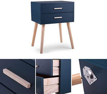 Lake Blue Nightstand Sofa End Table Bedroom Decor Bedside Furniture with Two Drawers