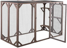Large Wooden Outdoor Cat Pet Enclosure Cage Playpen Kennel Pet Housing w3 Platforms