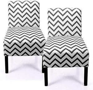 Leisure Armless Accent Chair Wave Print Fabric Armless Living Room Bedroom Office Contemporary Sofa Set of 2