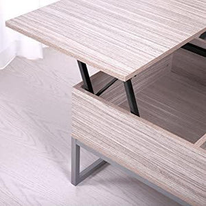 Lift up Top Coffee Table with Under Storage Shelf Modern Living Room Furniture Log Color