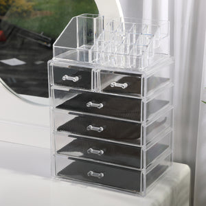Acrylic Diamond Jewelry Makeup Organizer Case Box Storage Display Drawer