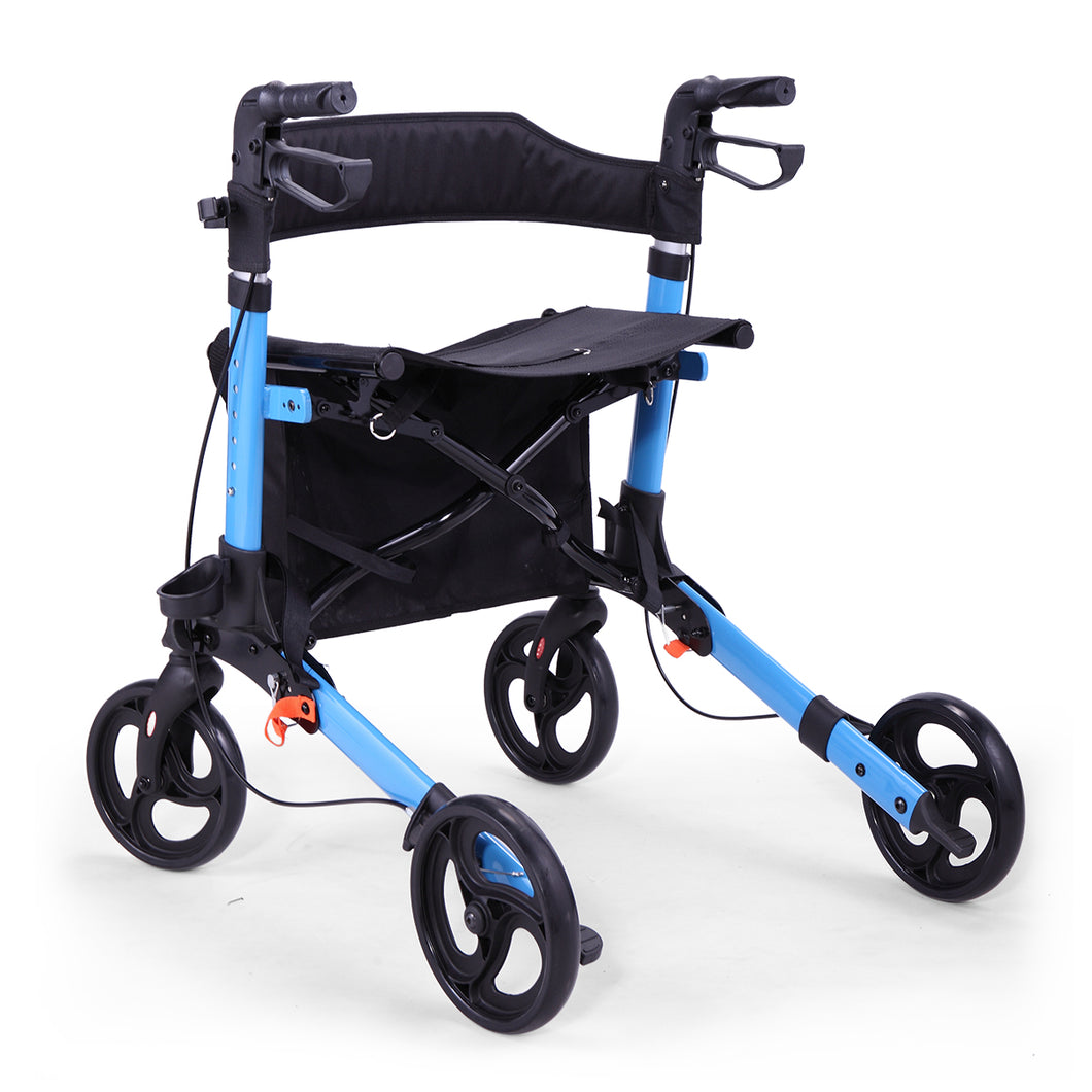 Aluminum Rollator Rolling Walker with Medical Curved Back Soft Seat Light Weight