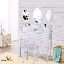 Makeup Desk Bedroom Vanity Makeup Dressing Table Vanity Set wStool 7 Drawer& 3 Folding Oval MirrorWhite