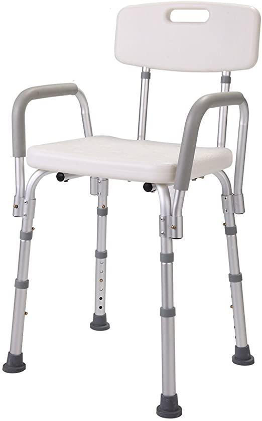 Medical Shower Bath Chair Adjustable Bench Stool Seat wDetachable Back and Arms