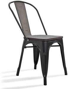 Metal Dining Chairs Wood Top Seat Classic Stackable Side Chair for Industrial