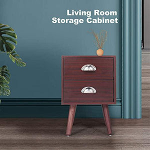 Mid Century Wooden End Side Nightstand for Living RoomBedroomFurniture End TableBedside Table with Two Storage Drawer Brown
