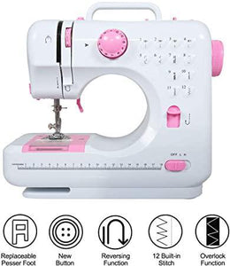 Mini Portable Household 12 Built-in Stitches 2 Speeds Double Thread Foot Pedal Sewing Machine wLED Lighting and Mini Drawer