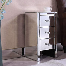 Mirrored Nightstand with 3 Drawer Beside End Tables Accent Table Modern Style for Bedroom Living Room Silver All-Glass