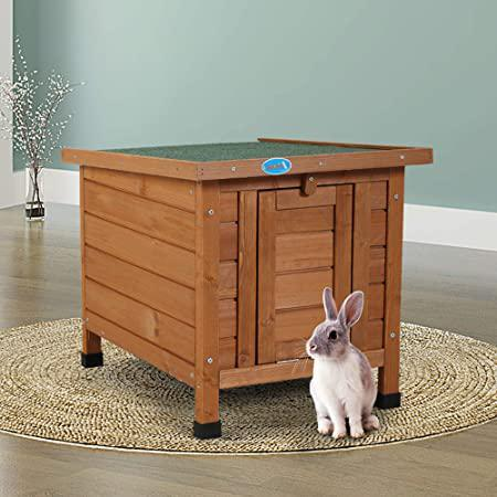 Modern Portable OutdoorIndoor Wooden Rabbit Cat Dog Hutch Retreat House for Small Pets with Openable Roof and Ramp Door Weatherproof Khaki