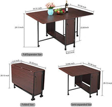 Movable Folding Dining Table Drop Leaf Extendable Versatile Table Expandable Dining Table with Wheels