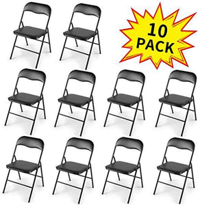 New 10-Pack Commercial Plastic Folding Chairs Stackable Wedding Party Chair wSoft Cushion Black