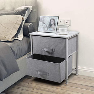 Nightstand with 2 Drawers End Table Dresser for Home wSteel Frame&Wood Table Top Bedside Furniture Bedroom Accessories Office College Dorm Easy Pull Fabric Bins White