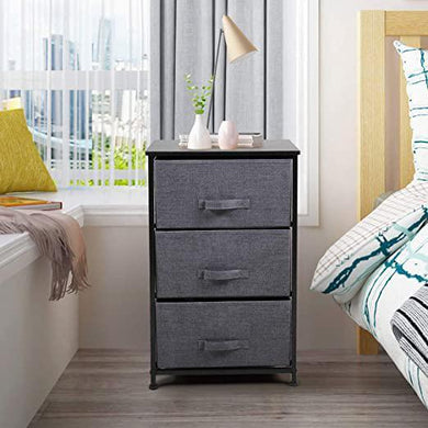 Nightstand with 3 Drawers Fabric End Table Dresser for Home