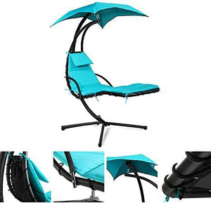 Outdoor Hanging Curved Chaise Lounge Chair Floating Swing Chair wCanopy and Build-in Pillow Blue