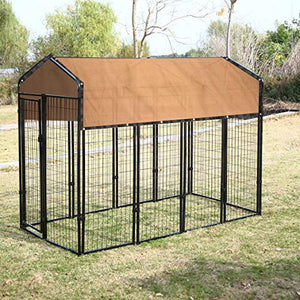 Outdoor Large Dog Kennel Covers Pet Crate Dog Cage Cover Sun Shades 6 x10 ft-Beige