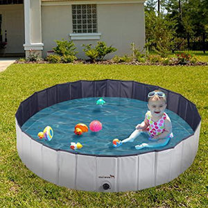 "63"" Outdoor Pet Dog Pool Foldable Kids Swimming Pool Collapsible Bathing Tub"