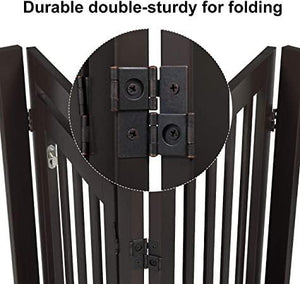 4 Panels Freestanding Puppy Dog Gate for Stairs Doorways, Wooden Indoor Pet Fence