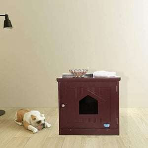 Pet Litter Box Enclosure Cat Washroom Wood Cover Brown